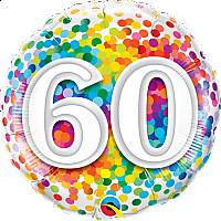 "Mylar - 18"" - 60 - Rainbow Confetti"