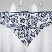 Square Linen - Navy - White Damask - 54""