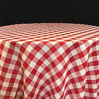 Square Linen - Gingham - Red - 72""