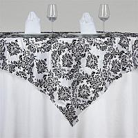 "Table Overlay -Damask -Black & White 72"" x 72"""