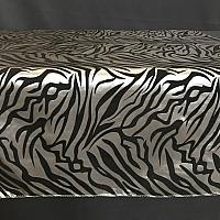 "Table Overlay - Zebra Print - Black & Silver 72"" x 72"""
