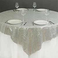 "Table Overlay - Sequin - Silver 72"" x 72"""