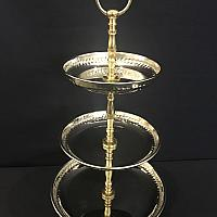 "Stand - 3 Tier with Gold Accent 18""h"