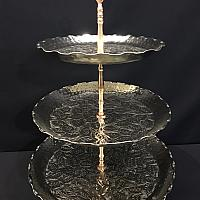 Stand - 3 Tier - Silver w/ Copper Handle 29""
