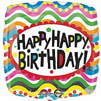 "Mylar - 18"" - Birthday Squiggles"