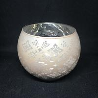 "Votive Candle Holder - Round - Lace Peach 3.15"" x 3.5"""