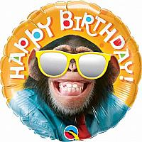 """Mylar - 18"""" - Happy Birthday Chimp"""