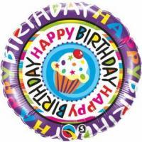 """Mylar - 18"""" - Happy Birthday Cupcake"""