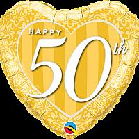 """Mylar - 18"""" - Happy 50th - Heart Shape"""