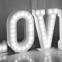 """Marquee Sign, Love - White Metal, 30"""" h"""