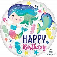 """Mylar - 18"""" - Happy Birthday Mermaid"""