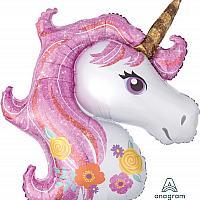 "Mylar - 33"" - Floral Unicorn Supershape"
