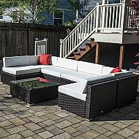 Modular Seating, Outdoor Rattan - 7 Pieces