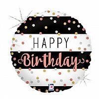 """Mylar - 18"""" - Happy Birthday - Rose Gold"""