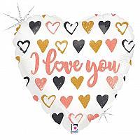 """Mylar - 18"""" - Rose Gold Hearts"""