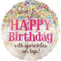 "Mylar - 18"" - Happy Birthday with sprinkles on top"