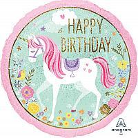 """Mylar -18""""- Unicorn Happy Birthday"""
