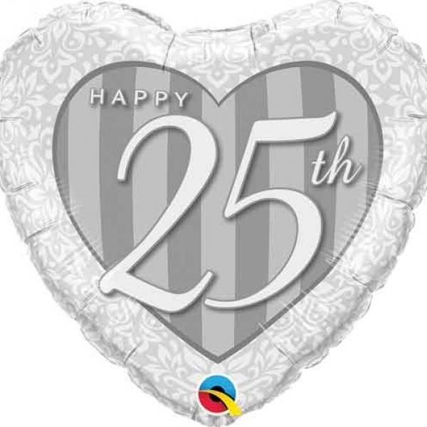 """Mylar - 18"""" - Happy 25th - Heart Shape"""