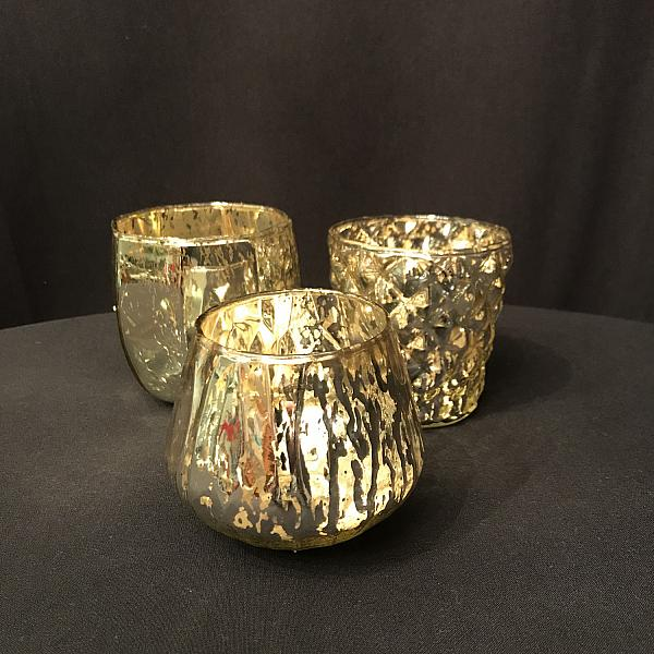 Candle Holder - Votive - Gold - Set of 3