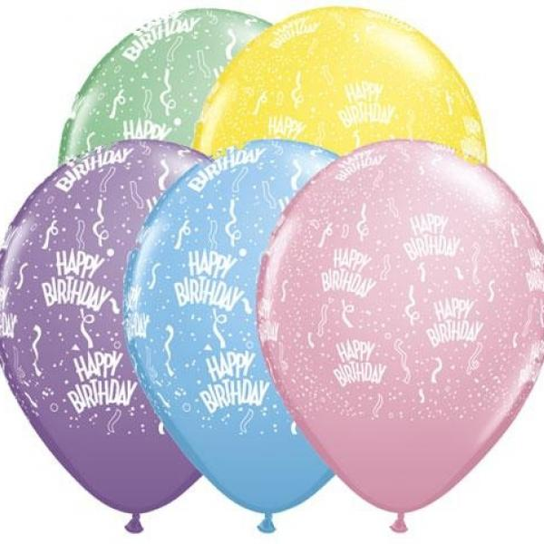 "Balloon - 11"" Latex - Happy Birthday Pastel"