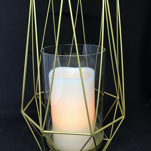 "Candle Holder - Geometric - Gold - Pillar 10""h x 7""w"