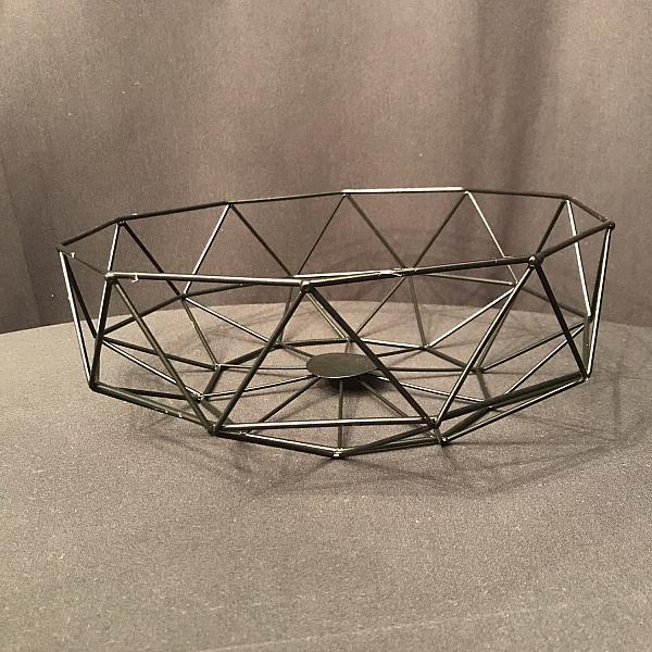 "Geometric Centrepiece/Metal Bowl - Black 4""h x 11. 7""w"