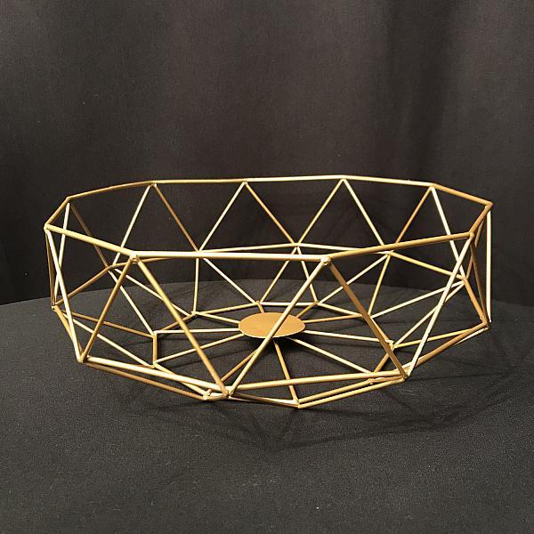 "Geometric Centrepiece/Metal Bowl - Gold - 4""h x 11.7"" w"