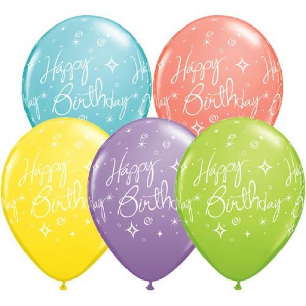 "Balloon - 11"" Latex - Birthday Elegant Sparkle"