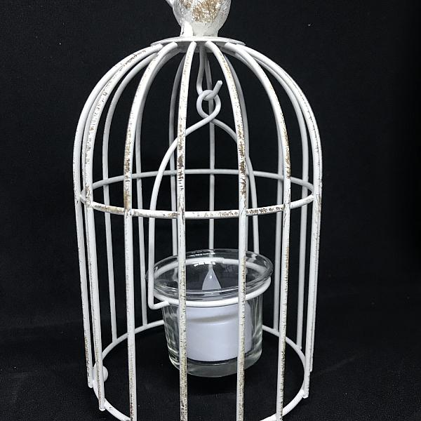 "Candle Holder - Birdcage - White 8""h"