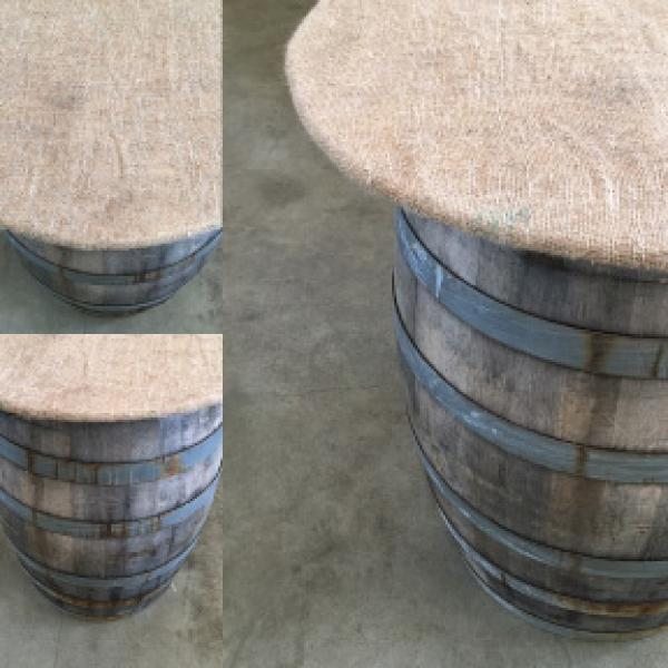Burlap Covered Barrel Top
