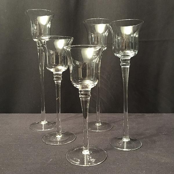 Candle Set - Glass - assorted heights