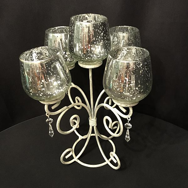 Candelabra - White w/ Silver Crackle