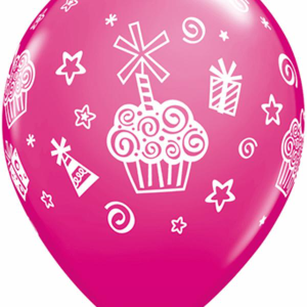 "11"" Latex - Cupcakes & Presents"