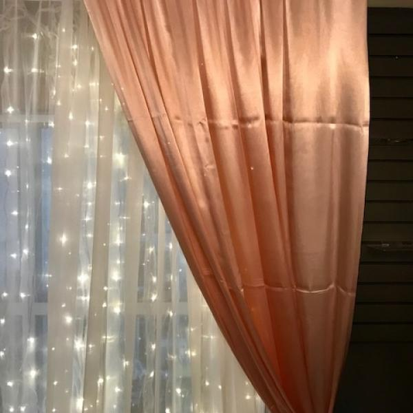 Backdrop Curtain Panel - Satin - Blush 4.9' x 12'