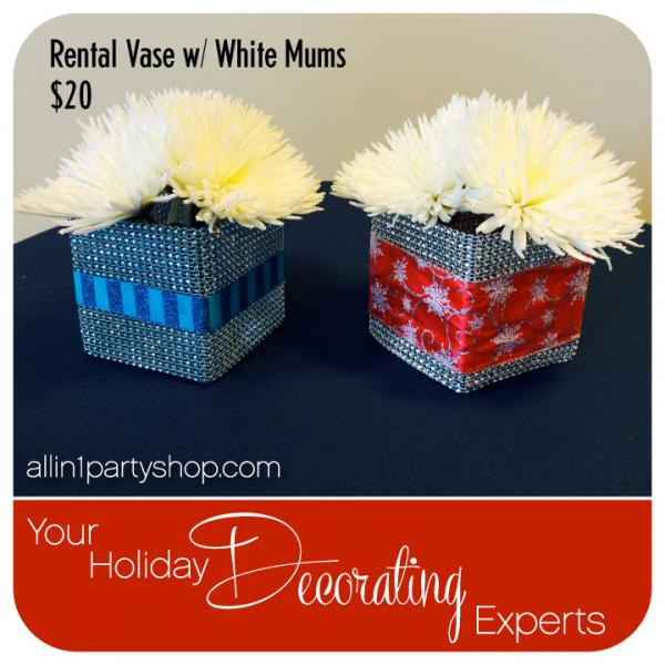 Rental Vase w/ White Mums