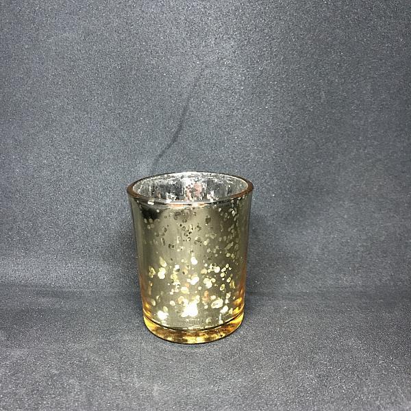 Votive Candle Holder - Round - Gold Metallic