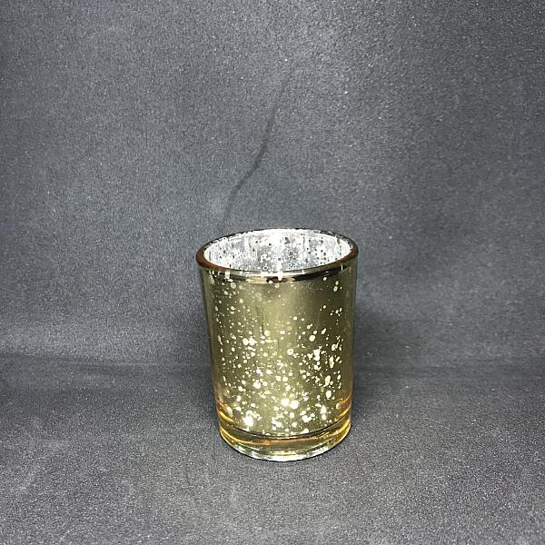 Votive Candle Holder - Round - Gold Mercury