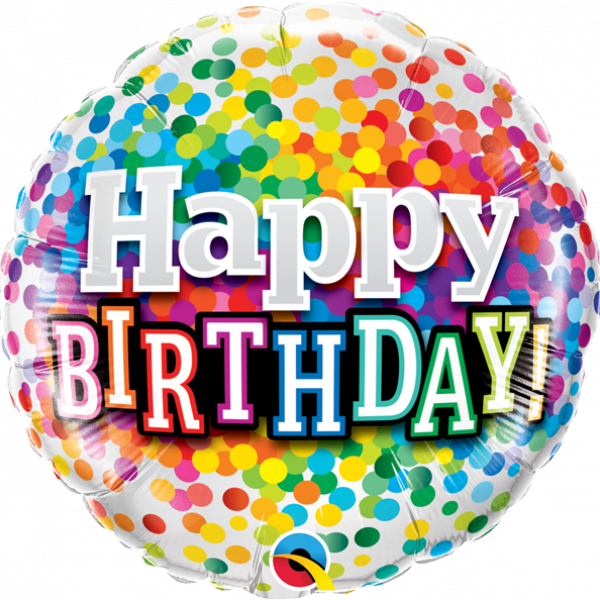 "Mylar - 18"" - Happy Birthday Rainbow Confetti"