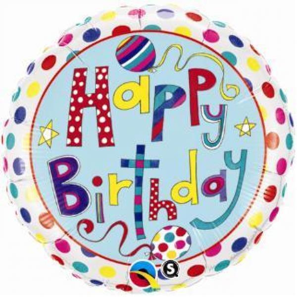 """Mylar - 18"""" - Happy Birthday Dots & Stripes"""