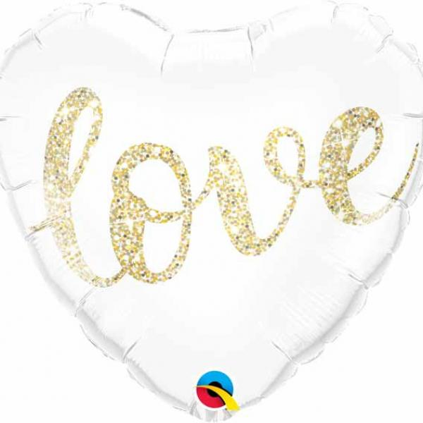 "Mylar - 18"" - Love Glitter - Heart"