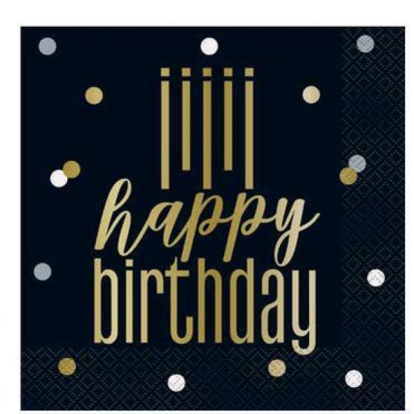 Metallic - Happy Birthday Napkins