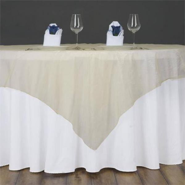 "Table Overlay- Organza - Champagne 70"" x 70"""