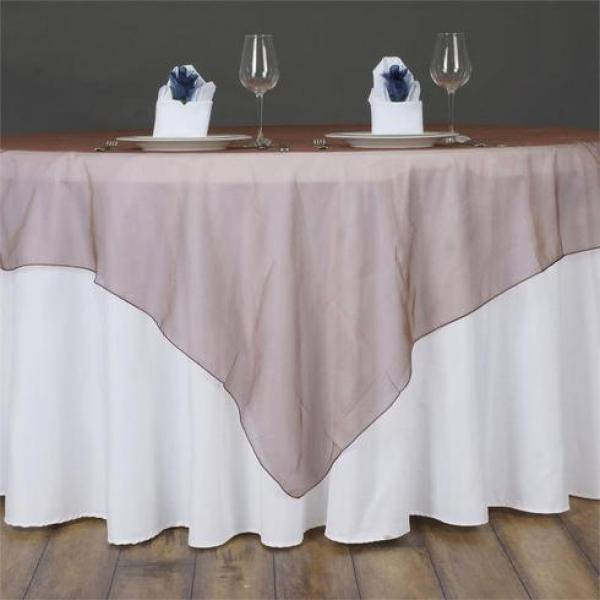 "Table Overlay - Organza - Chocolate 70"" x 70"""