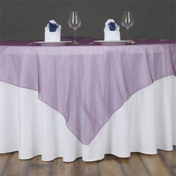 "Table Overlay - Organza - Eggplant 72"" x 72"""