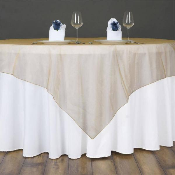 "Table Overlay - Organza - Gold 70"" x 70"""