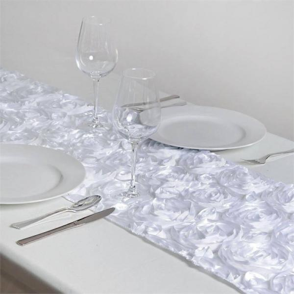 Table Runner - Rosette - White