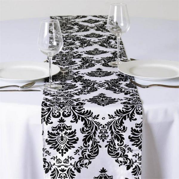 Table Runner - Black & White Damask
