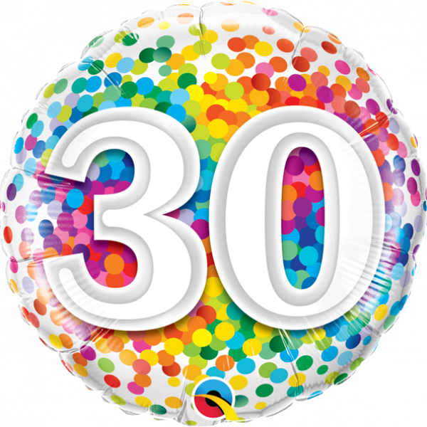 "Mylar - 18"" - 30 - Rainbow Confetti"