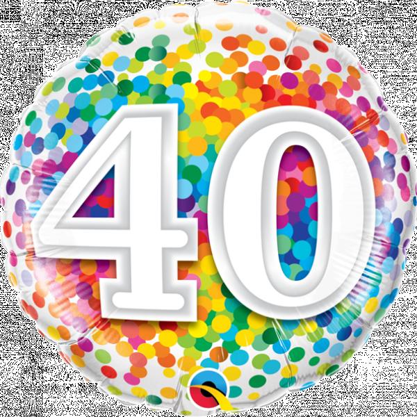 "Mylar - 18"" - 40 - Rainbow Confetti"