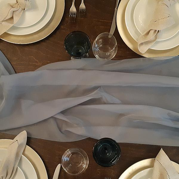 Table Runner, Sheer - Grey Blue